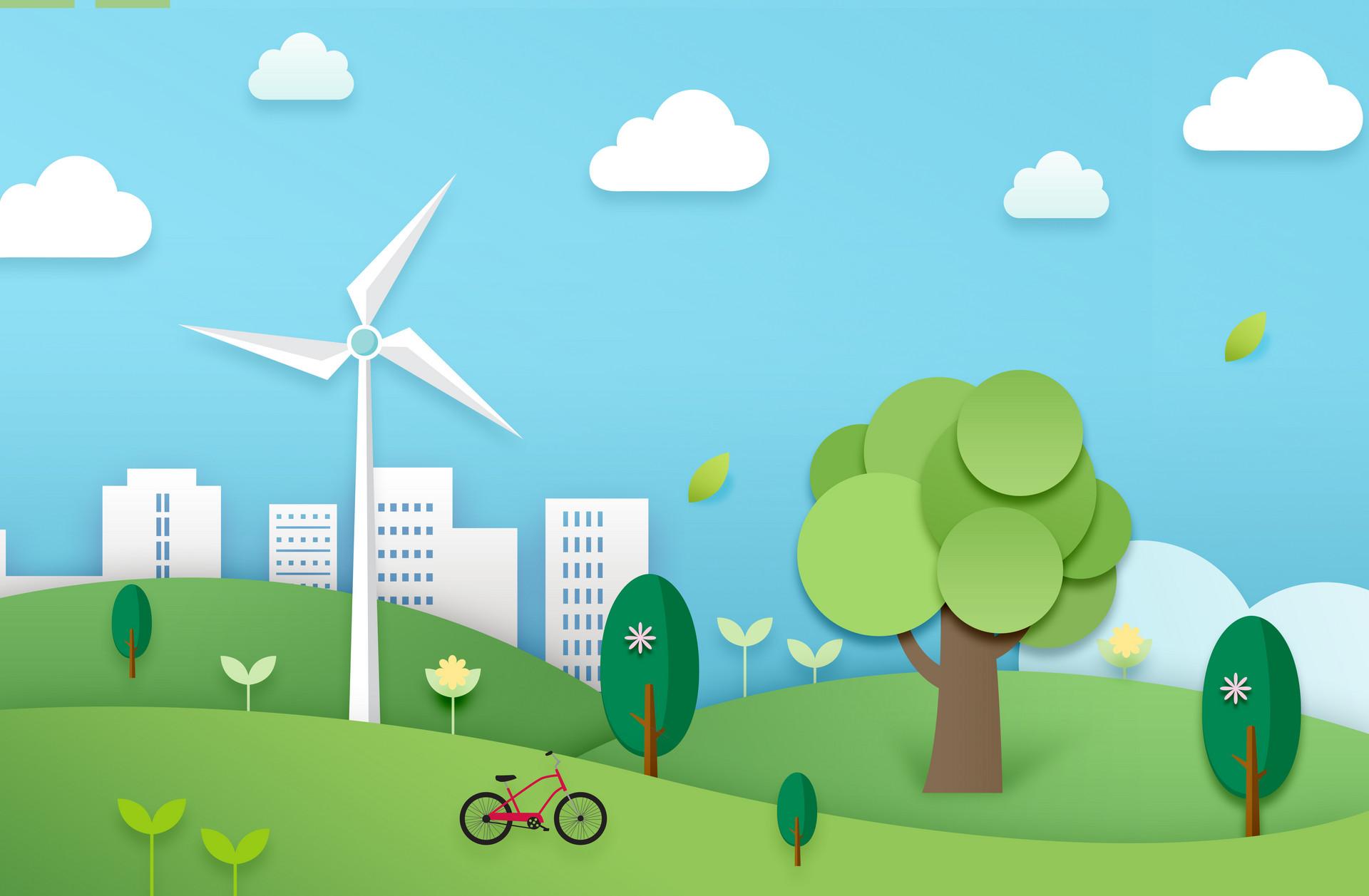 摄图网_400169566_banner_绿色生态城市剪纸(企业商用)